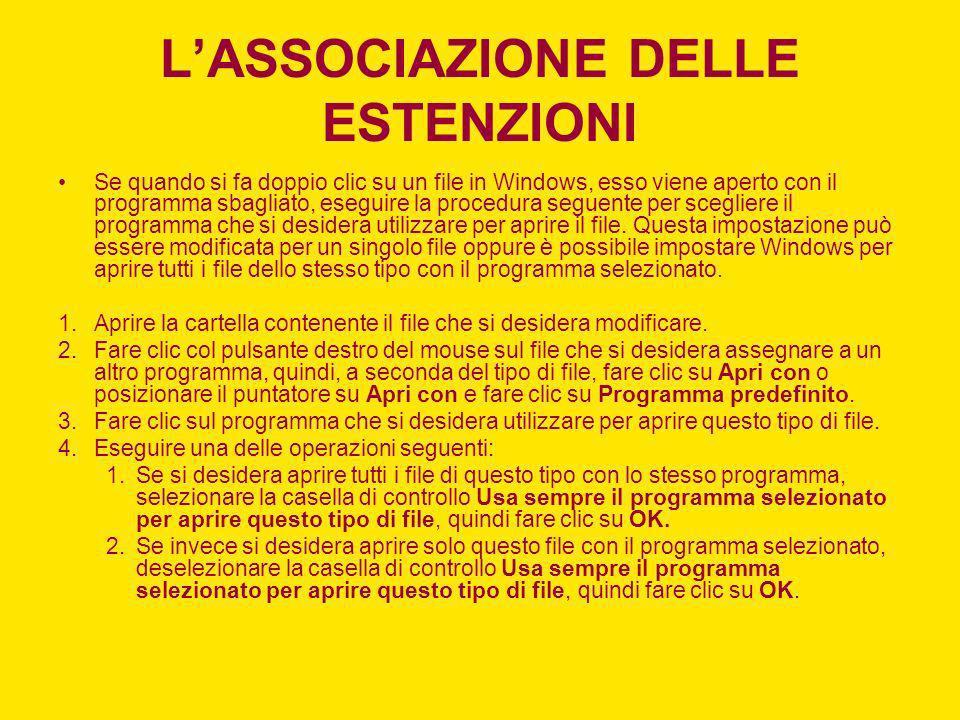 LASSOCIAZIONE DELLE ESTENZIONI Se quando si fa doppio clic su un file in Windows, esso viene aperto con il programma sbagliato, eseguire la procedura