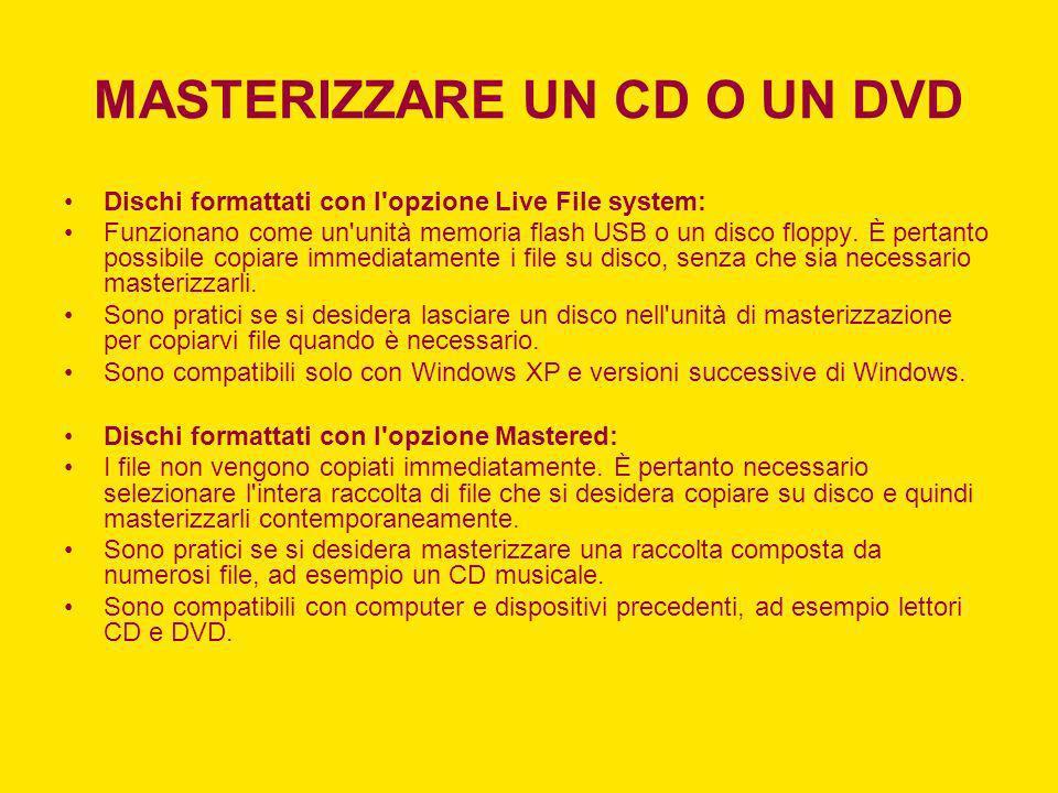 MASTERIZZARE UN CD O UN DVD Dischi formattati con l'opzione Live File system: Funzionano come un'unità memoria flash USB o un disco floppy. È pertanto