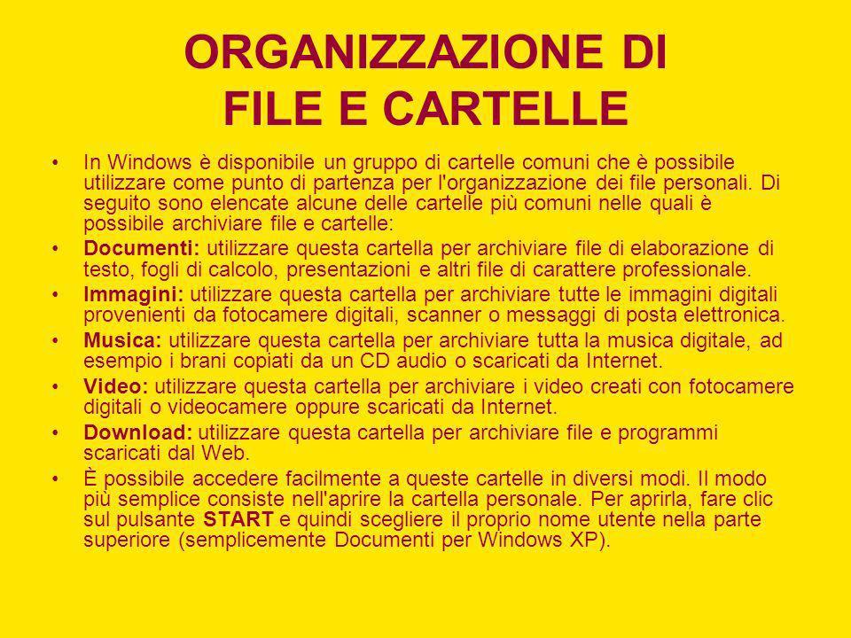 ORGANIZZAZIONE DI FILE E CARTELLE In Windows è disponibile un gruppo di cartelle comuni che è possibile utilizzare come punto di partenza per l'organi