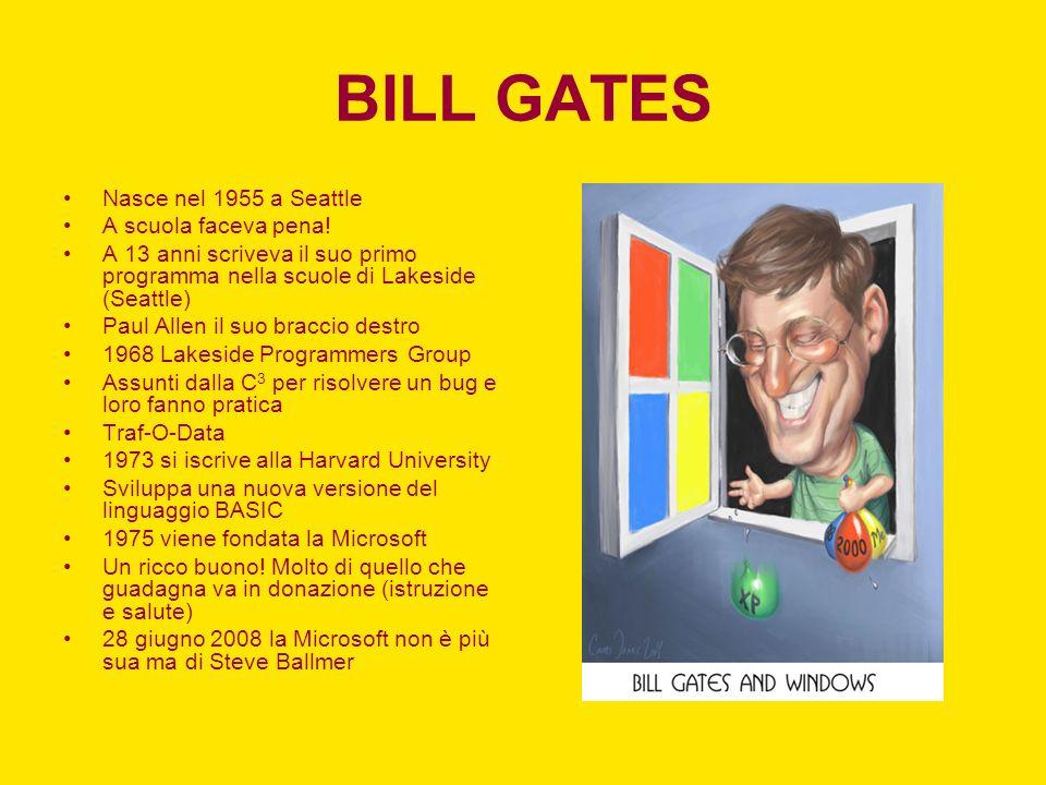 BILL GATES Nasce nel 1955 a Seattle A scuola faceva pena! A 13 anni scriveva il suo primo programma nella scuole di Lakeside (Seattle) Paul Allen il s