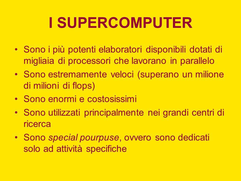 I SUPERCOMPUTER Sono i più potenti elaboratori disponibili dotati di migliaia di processori che lavorano in parallelo Sono estremamente veloci (supera