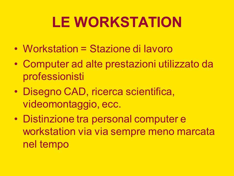 LE WORKSTATION Workstation = Stazione di lavoro Computer ad alte prestazioni utilizzato da professionisti Disegno CAD, ricerca scientifica, videomonta
