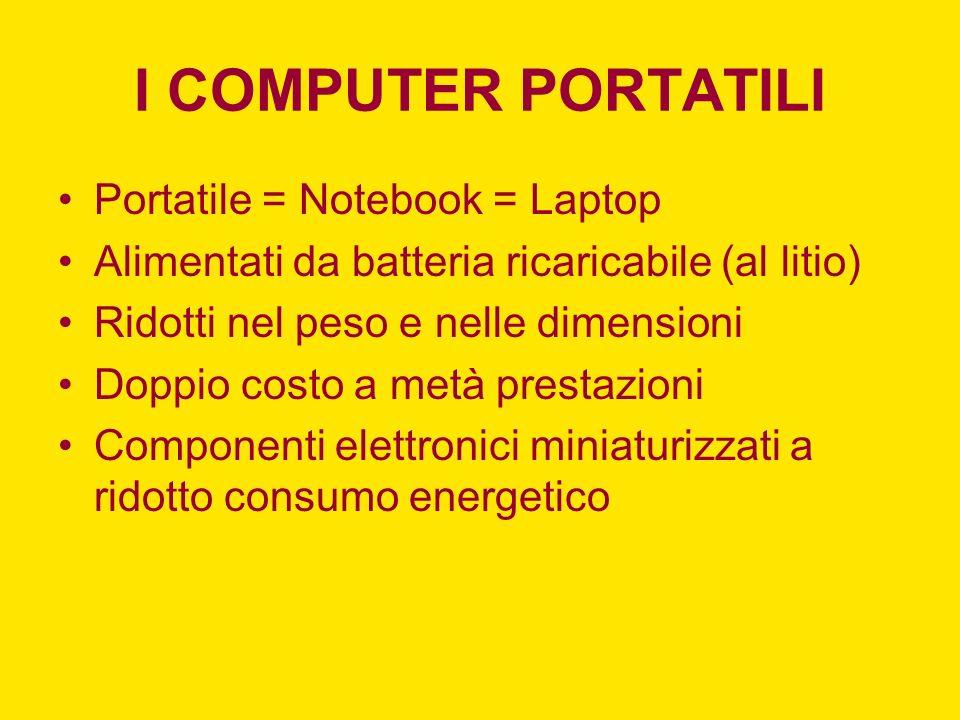 I COMPUTER PORTATILI Portatile = Notebook = Laptop Alimentati da batteria ricaricabile (al litio) Ridotti nel peso e nelle dimensioni Doppio costo a m