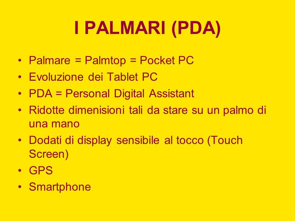 I PALMARI (PDA) Palmare = Palmtop = Pocket PC Evoluzione dei Tablet PC PDA = Personal Digital Assistant Ridotte dimenisioni tali da stare su un palmo