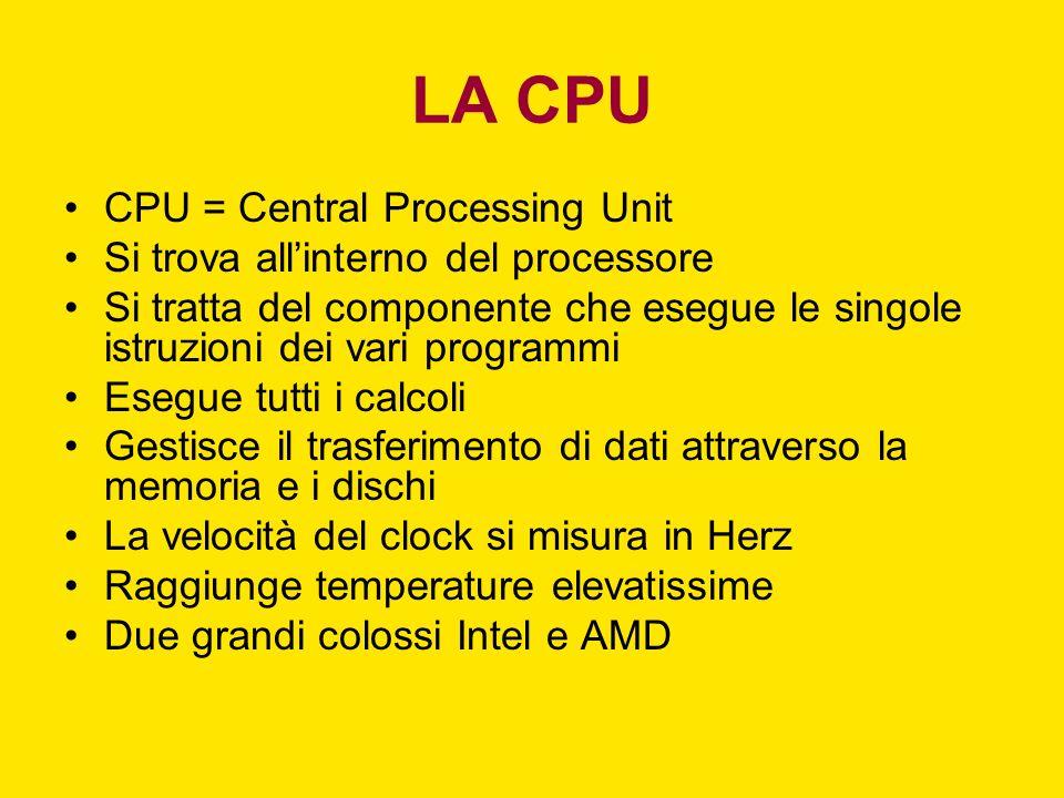 LA CPU CPU = Central Processing Unit Si trova allinterno del processore Si tratta del componente che esegue le singole istruzioni dei vari programmi E