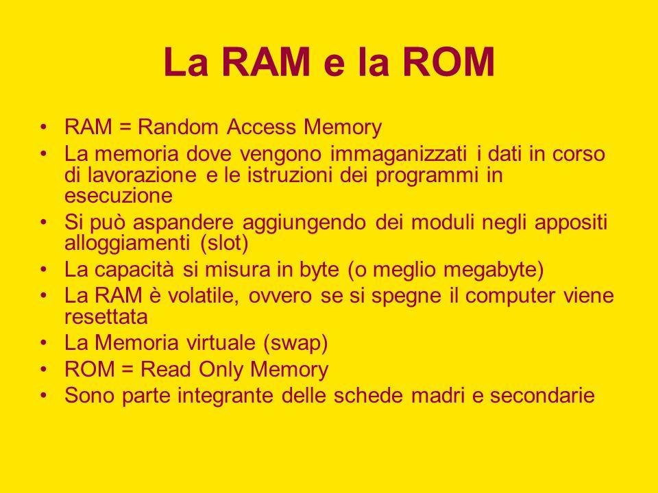 La RAM e la ROM RAM = Random Access Memory La memoria dove vengono immaganizzati i dati in corso di lavorazione e le istruzioni dei programmi in esecu