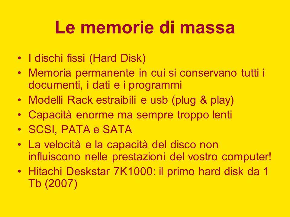Le memorie di massa I dischi fissi (Hard Disk) Memoria permanente in cui si conservano tutti i documenti, i dati e i programmi Modelli Rack estraibili
