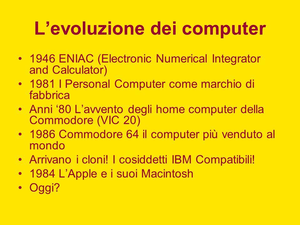 Levoluzione dei computer 1946 ENIAC (Electronic Numerical Integrator and Calculator) 1981 I Personal Computer come marchio di fabbrica Anni 80 Lavvento degli home computer della Commodore (VIC 20) 1986 Commodore 64 il computer più venduto al mondo Arrivano i cloni.