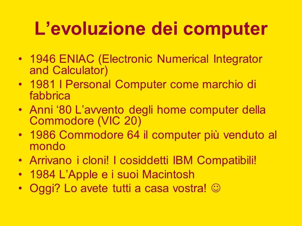 ENIAC (1946) Università della Pennsylvania Doveva risolvere i problemi di calcolo balistico 18.000 valvole e 1500 relé 180 mq Circa 500.000$ (erano previsti 60.000$) Mandò in black-out tutta Filadelfia