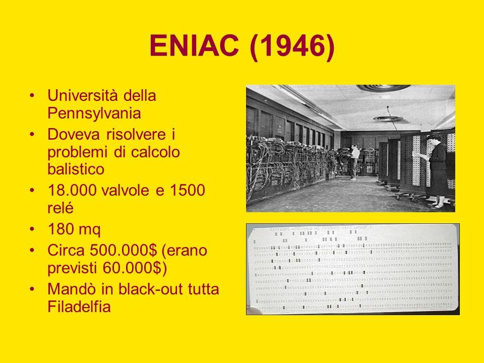 ENIAC (1946) Università della Pennsylvania Doveva risolvere i problemi di calcolo balistico 18.000 valvole e 1500 relé 180 mq Circa 500.000$ (erano pr