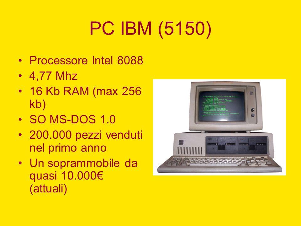 PC IBM (5150) Processore Intel 8088 4,77 Mhz 16 Kb RAM (max 256 kb) SO MS-DOS 1.0 200.000 pezzi venduti nel primo anno Un soprammobile da quasi 10.000
