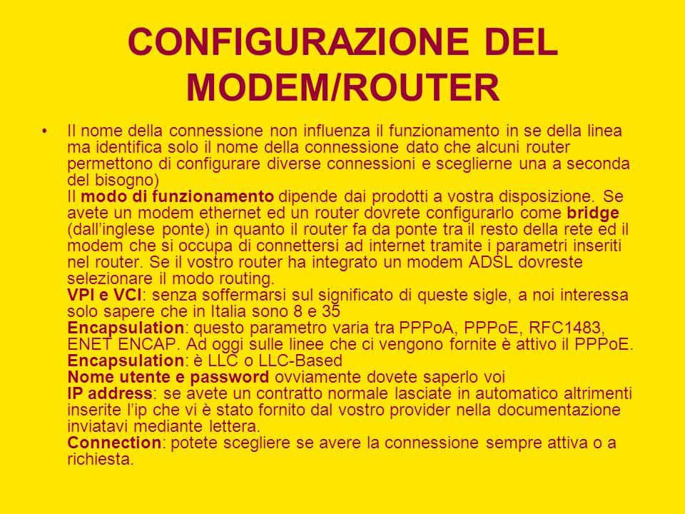 CONFIGURAZIONE DEL MODEM/ROUTER Il nome della connessione non influenza il funzionamento in se della linea ma identifica solo il nome della connession