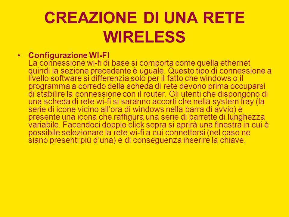 CREAZIONE DI UNA RETE WIRELESS Configurazione WI-FI La connessione wi-fi di base si comporta come quella ethernet quindi la sezione precedente è ugual