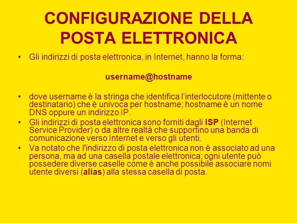 CONFIGURAZIONE DELLA POSTA ELETTRONICA Gli indirizzi di posta elettronica, in Internet, hanno la forma: username@hostname dove username è la stringa c