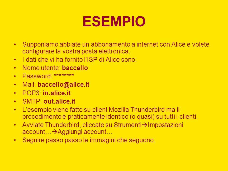 ESEMPIO Supponiamo abbiate un abbonamento a internet con Alice e volete configurare la vostra posta elettronica. I dati che vi ha fornito lISP di Alic