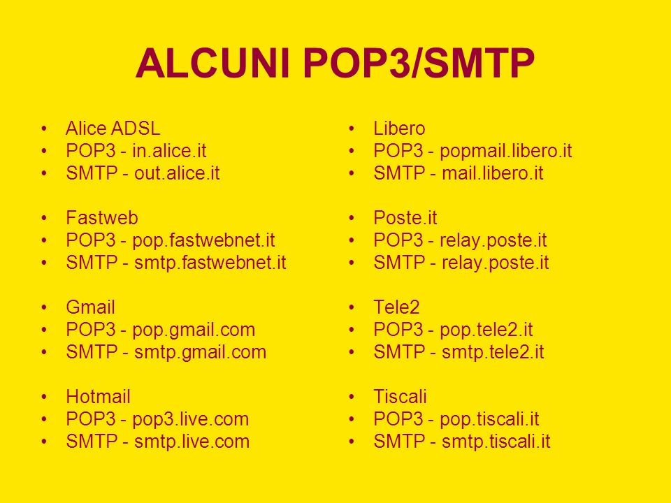 ALCUNI POP3/SMTP Alice ADSL POP3 - in.alice.it SMTP - out.alice.it Fastweb POP3 - pop.fastwebnet.it SMTP - smtp.fastwebnet.it Gmail POP3 - pop.gmail.com SMTP - smtp.gmail.com Hotmail POP3 - pop3.live.com SMTP - smtp.live.com Libero POP3 - popmail.libero.it SMTP - mail.libero.it Poste.it POP3 - relay.poste.it SMTP - relay.poste.it Tele2 POP3 - pop.tele2.it SMTP - smtp.tele2.it Tiscali POP3 - pop.tiscali.it SMTP - smtp.tiscali.it