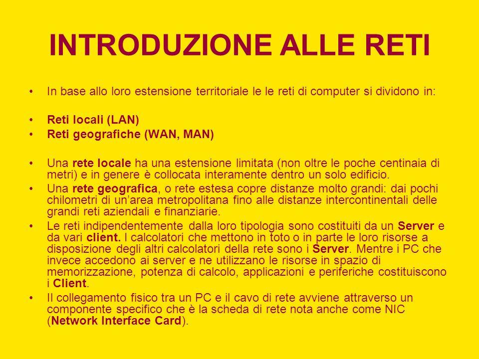 INTRODUZIONE ALLE RETI In base allo loro estensione territoriale le le reti di computer si dividono in: Reti locali (LAN) Reti geografiche (WAN, MAN)