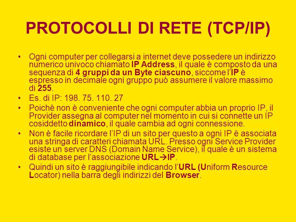 INDIRIZZI IP PRIVATI Con indirizzi IP privati si intendono alcune classi di indirizzi IPv4, riservate alle reti locali non connesse ad internet allo scopo di ridurre le richieste di indirizzi pubblici.