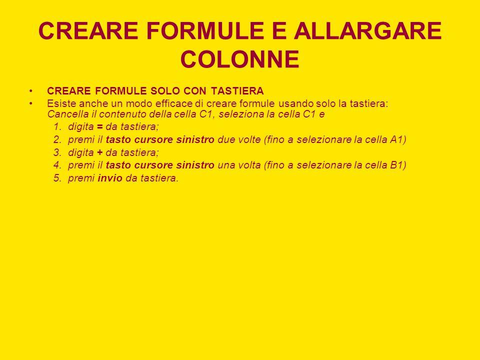 CREARE FORMULE E ALLARGARE COLONNE CREARE FORMULE SOLO CON TASTIERA Esiste anche un modo efficace di creare formule usando solo la tastiera: Cancella