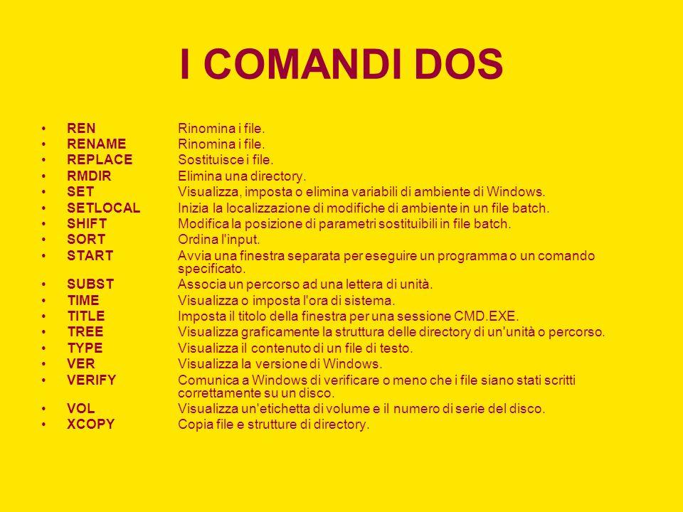 I COMANDI DOS RENRinomina i file. RENAMERinomina i file. REPLACESostituisce i file. RMDIRElimina una directory. SETVisualizza, imposta o elimina varia