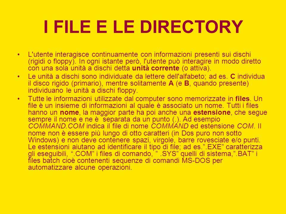 I FILE E LE DIRECTORY L utente interagisce continuamente con informazioni presenti sui dischi (rigidi o floppy).