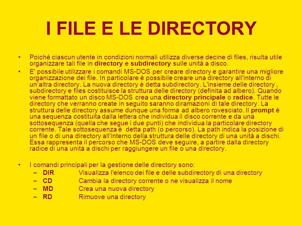 I FILE E LE DIRECTORY Poiché ciascun utente in condizioni normali utilizza diverse decine di files, risulta utile organizzare tali file in directory e subdirectory sulle unità a disco.