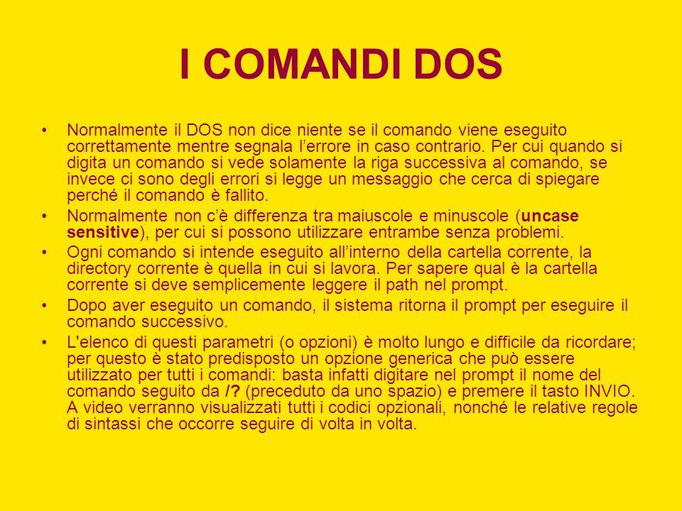 I COMANDI DOS Normalmente il DOS non dice niente se il comando viene eseguito correttamente mentre segnala lerrore in caso contrario. Per cui quando s