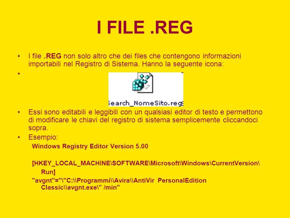 I FILE.REG I file.REG non solo altro che dei files che contengono informazioni importabili nel Registro di Sistema. Hanno la seguente icona: Essi sono