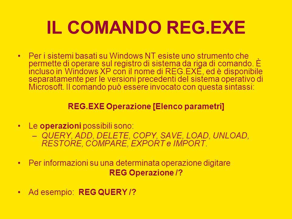 IL COMANDO REG.EXE Per i sistemi basati su Windows NT esiste uno strumento che permette di operare sul registro di sistema da riga di comando. È inclu