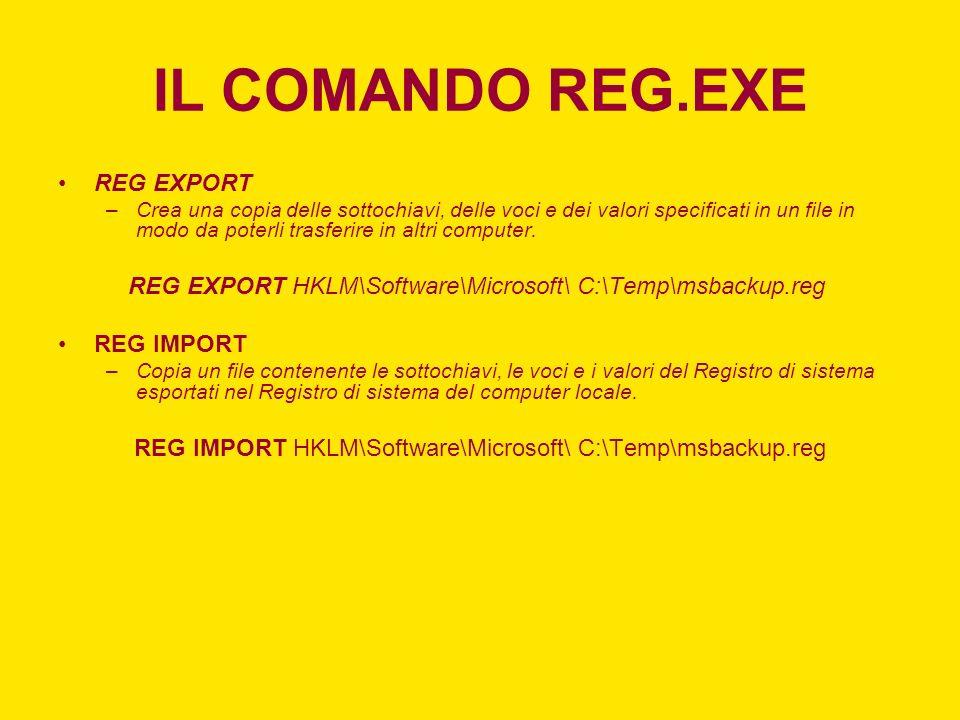 IL COMANDO REG.EXE REG EXPORT –Crea una copia delle sottochiavi, delle voci e dei valori specificati in un file in modo da poterli trasferire in altri