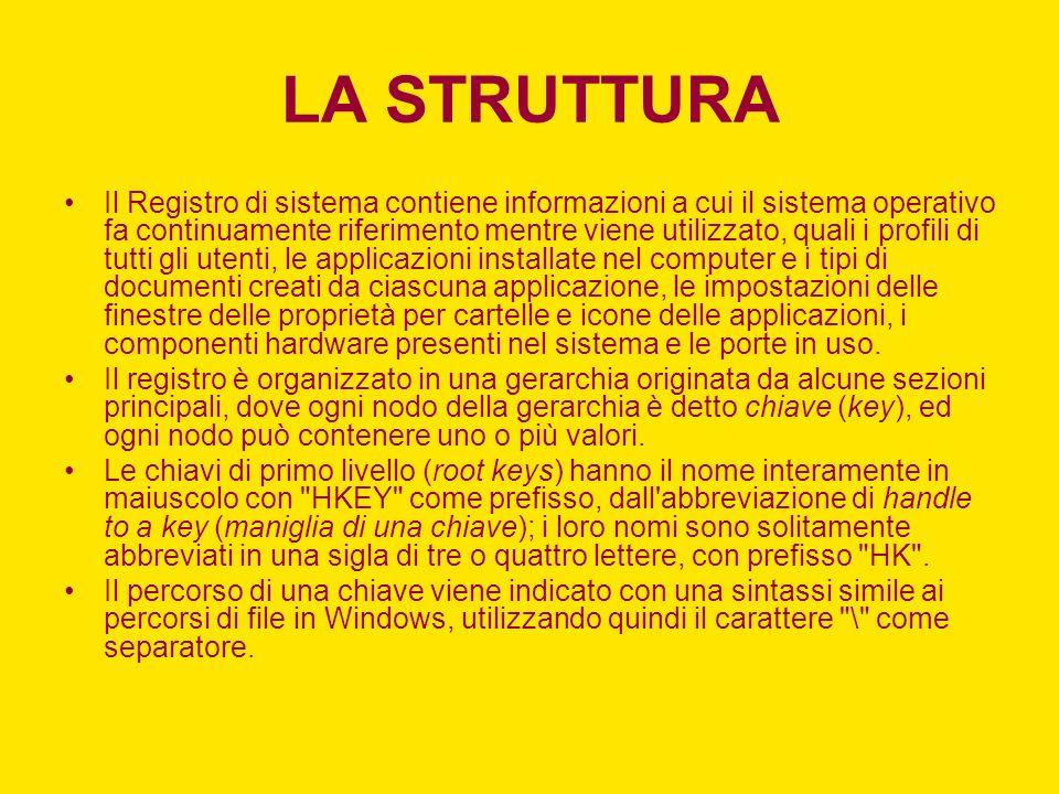 LA STRUTTURA Il Registro di sistema contiene informazioni a cui il sistema operativo fa continuamente riferimento mentre viene utilizzato, quali i pro