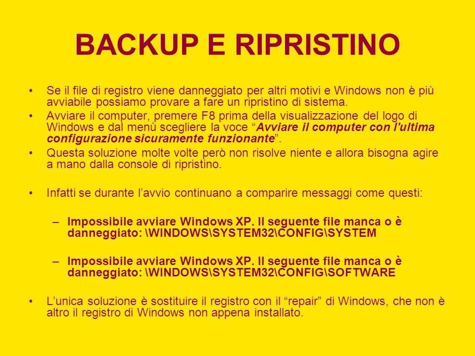 BACKUP E RIPRISTINO Se il file di registro viene danneggiato per altri motivi e Windows non è più avviabile possiamo provare a fare un ripristino di s