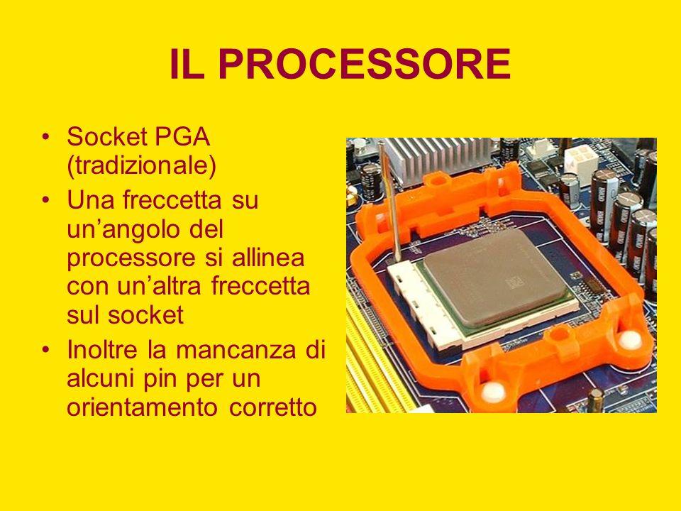 IL PROCESSORE Socket PGA (tradizionale) Una freccetta su unangolo del processore si allinea con unaltra freccetta sul socket Inoltre la mancanza di al