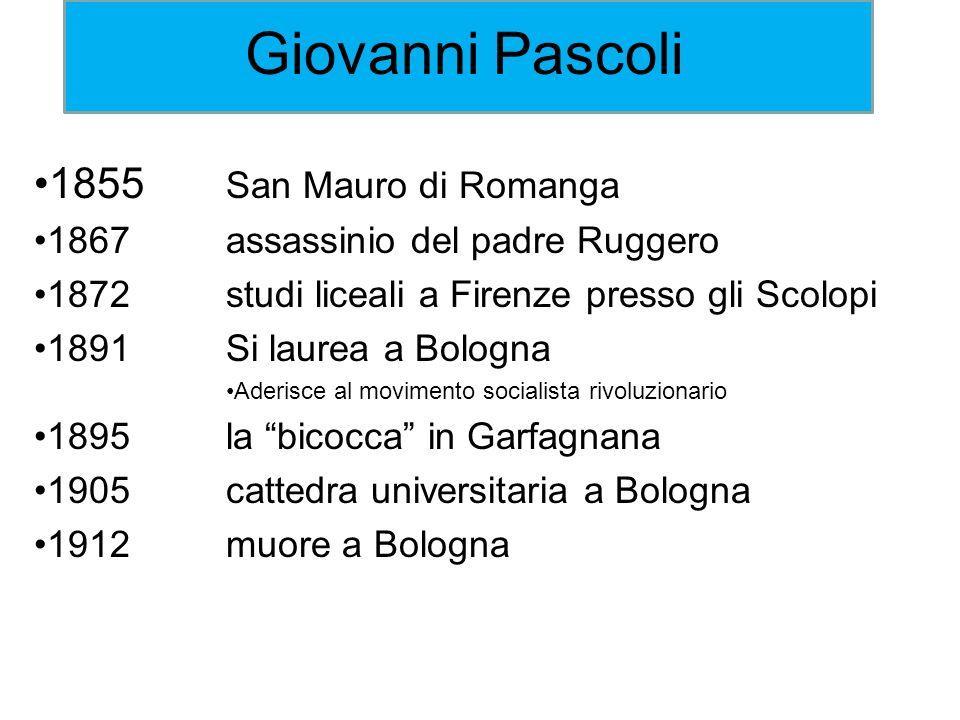 Giovanni Pascoli 1855 San Mauro di Romanga 1867assassinio del padre Ruggero 1872studi liceali a Firenze presso gli Scolopi 1891Si laurea a Bologna Ade