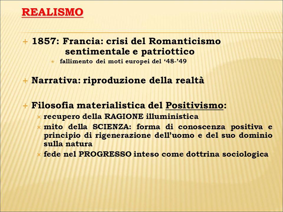 1857: Francia: crisi del Romanticismo sentimentale e patriottico fallimento dei moti europei del 48-49 Narrativa: riproduzione della realtà Filosofia