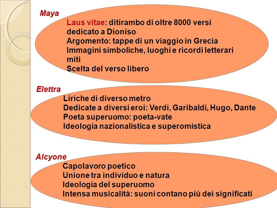 Maya Laus vitae: ditirambo di oltre 8000 versi dedicato a Dioniso Argomento: tappe di un viaggio in Grecia Immagini simboliche, luoghi e ricordi lette