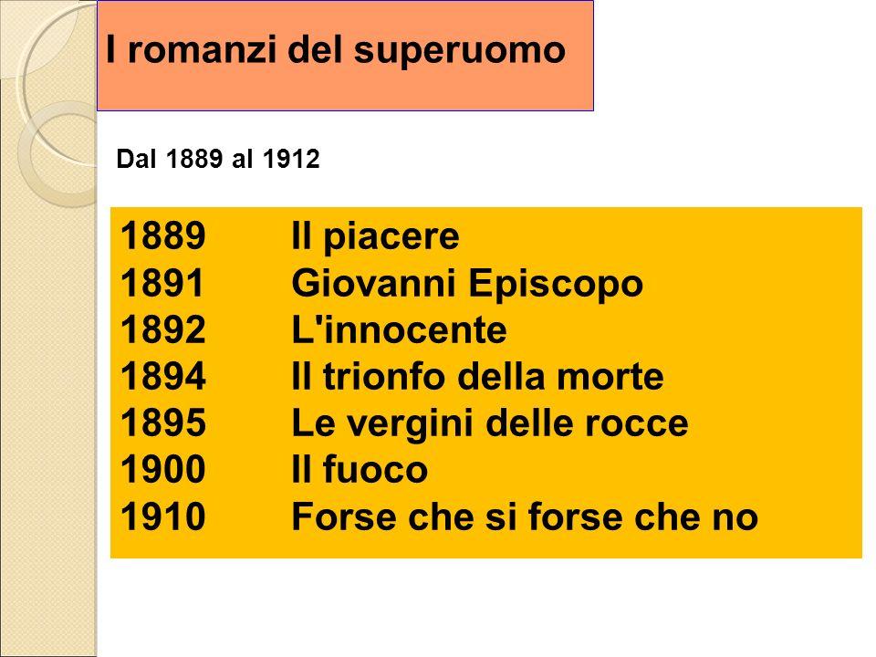 I romanzi del superuomo Dal 1889 al 1912 1889Il piacere 1891Giovanni Episcopo 1892L'innocente 1894Il trionfo della morte 1895Le vergini delle rocce 19