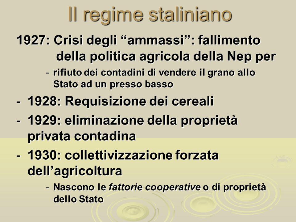 Il regime staliniano 1927: Crisi degli ammassi: fallimento della politica agricola della Nep per -rifiuto dei contadini di vendere il grano allo Stato