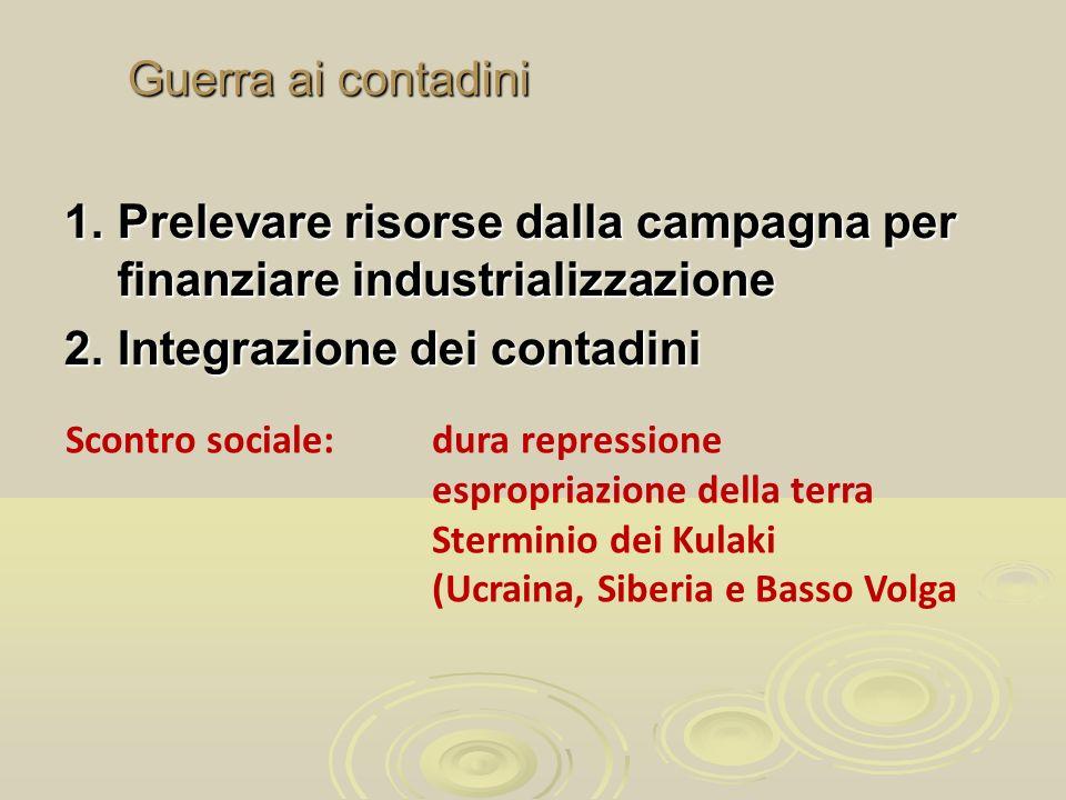 Guerra ai contadini 1.Prelevare risorse dalla campagna per finanziare industrializzazione 2.Integrazione dei contadini Scontro sociale:dura repression