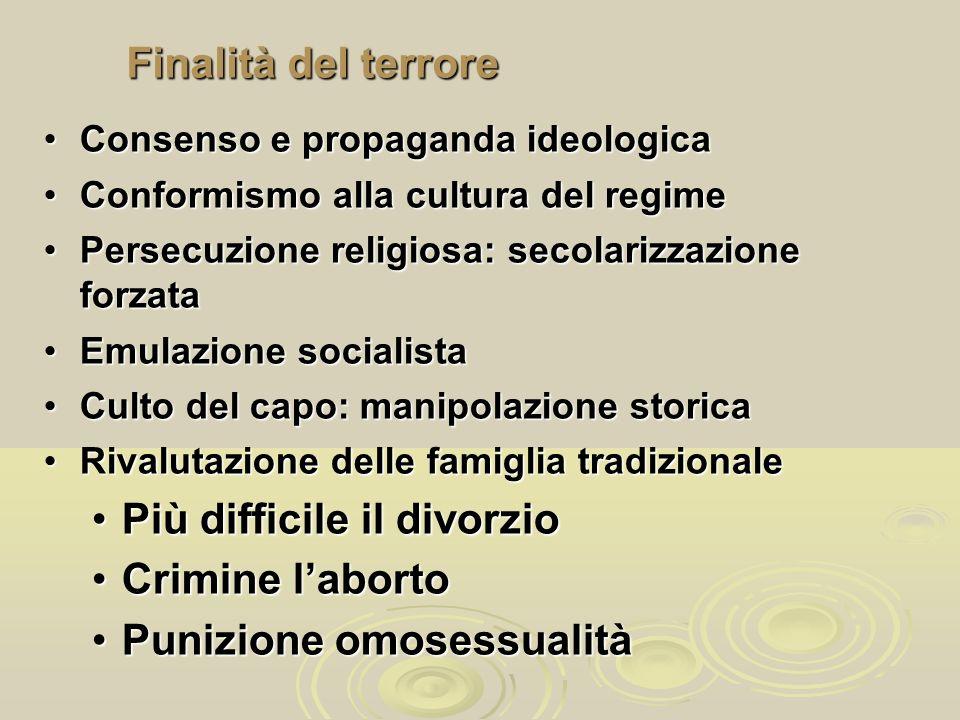 Finalità del terrore Consenso e propaganda ideologicaConsenso e propaganda ideologica Conformismo alla cultura del regimeConformismo alla cultura del