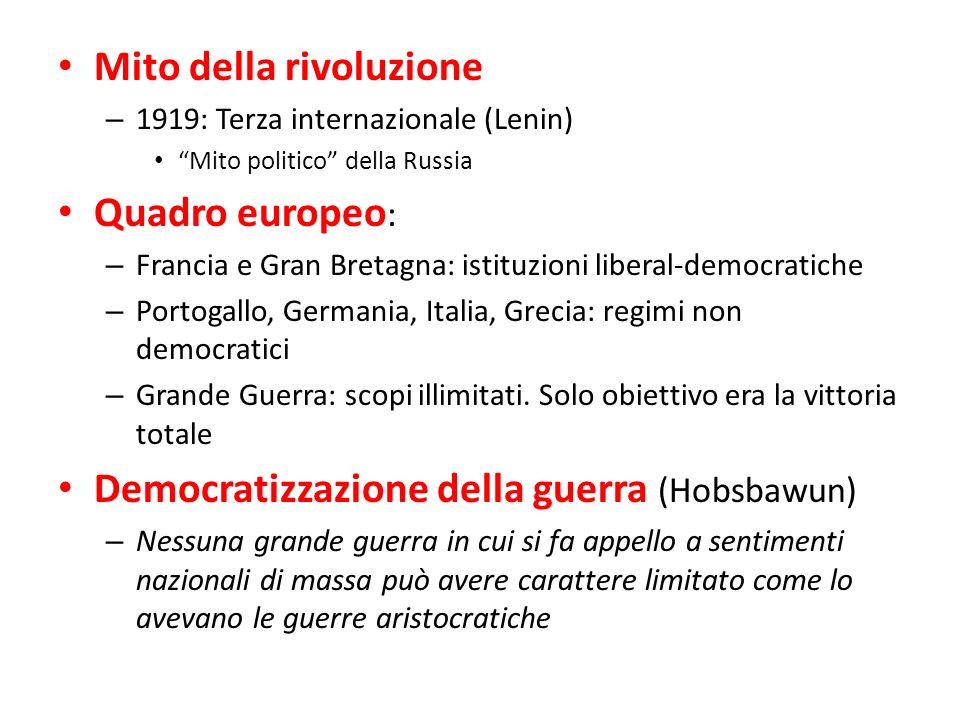 Mito della rivoluzione – 1919: Terza internazionale (Lenin) Mito politico della Russia Quadro europeo : – Francia e Gran Bretagna: istituzioni liberal