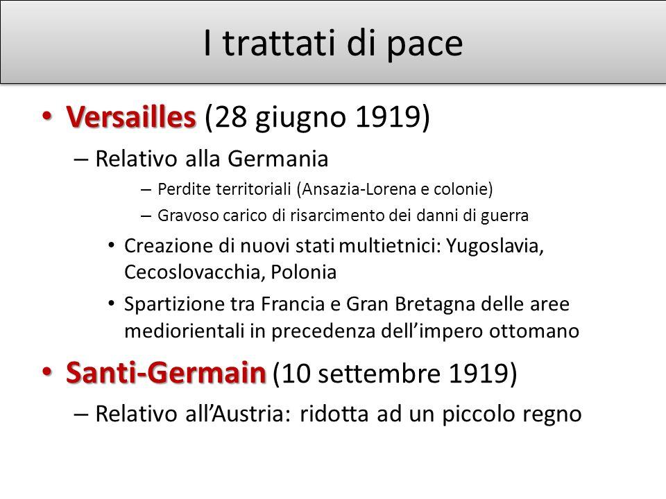 I trattati di pace Versailles Versailles (28 giugno 1919) – Relativo alla Germania – Perdite territoriali (Ansazia-Lorena e colonie) – Gravoso carico