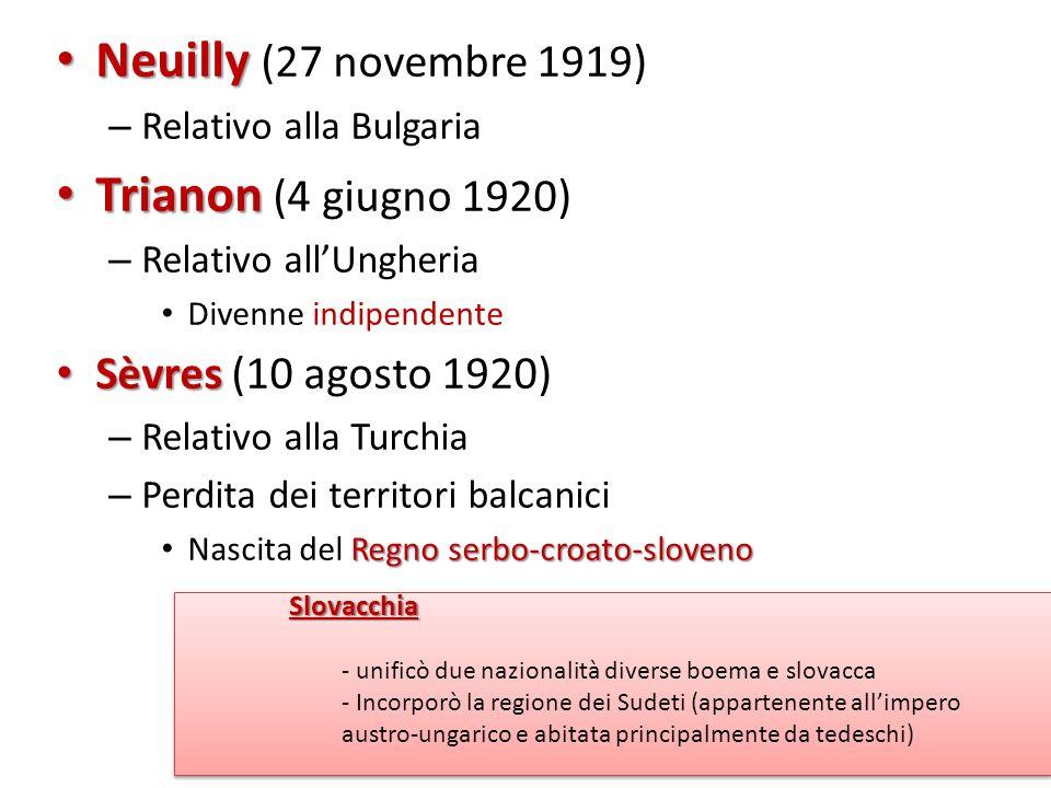 Neuilly Neuilly (27 novembre 1919) – Relativo alla Bulgaria Trianon Trianon (4 giugno 1920) – Relativo allUngheria Divenne indipendente Sèvres Sèvres