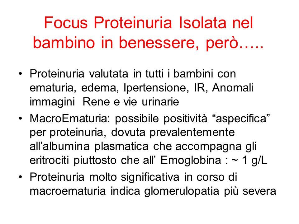 Focus Proteinuria Isolata nel bambino in benessere, però….. Proteinuria valutata in tutti i bambini con ematuria, edema, Ipertensione, IR, Anomali imm