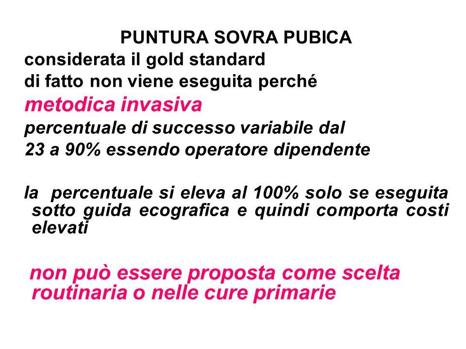 PUNTURA SOVRA PUBICA considerata il gold standard di fatto non viene eseguita perché metodica invasiva percentuale di successo variabile dal 23 a 90%