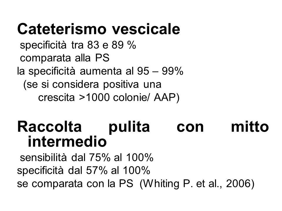 Cateterismo vescicale specificità tra 83 e 89 % comparata alla PS la specificità aumenta al 95 – 99% (se si considera positiva una crescita >1000 colo