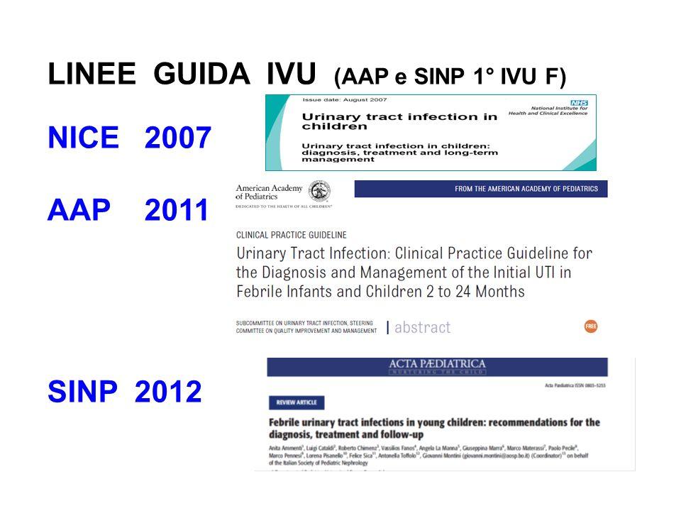 LINEE GUIDA IVU (AAP e SINP 1° IVU F) NICE 2007 AAP 2011 SINP 2012