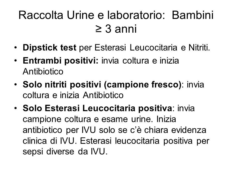 Dipstick test per Esterasi Leucocitaria e Nitriti. Entrambi positivi: invia coltura e inizia Antibiotico Solo nitriti positivi (campione fresco): invi