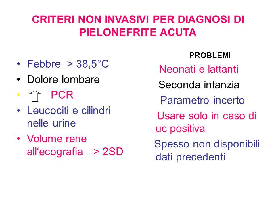 CRITERI NON INVASIVI PER DIAGNOSI DI PIELONEFRITE ACUTA Febbre > 38,5°C Dolore lombare PCR Leucociti e cilindri nelle urine Volume rene allecografia >