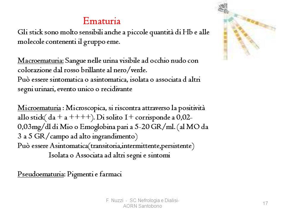 F. Nuzzi - SC Nefrologia e Dialisi- AORN Santobono 17 Ematuria Gli stick sono molto sensibili anche a piccole quantità di Hb e alle molecole contenent